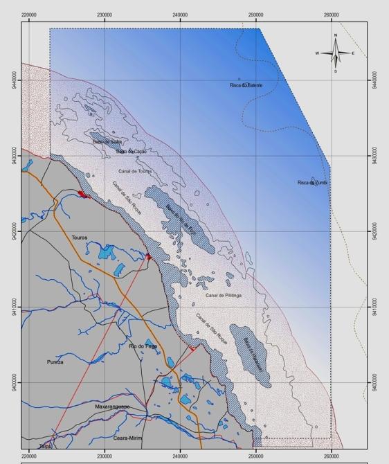 Área de recifes de corais, ou parrachos de Maracajaú e Rio do Fogo, costa do Rio Grande do Norte