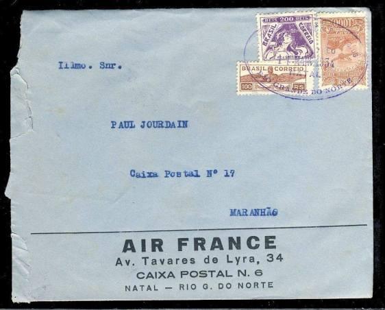 Carta de 1934, emitida em Natal, transportada pela Air France