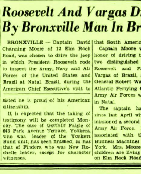 Material jornalistico de um jornal americano, de 1943, apontando o capitão Moore como motorista do famoso jipe