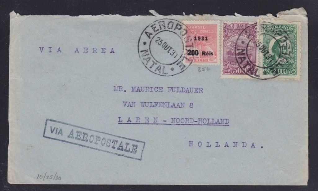 Carta transportada pela empresa Compagnie Générale Aéropostale (CGA) de Natal para a Holanda