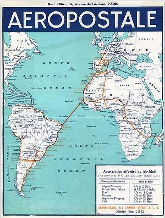 Mapa da empresa Compagnie Générale Aéropostale (CGA) mostrando sua rota aérea que passava por Natal