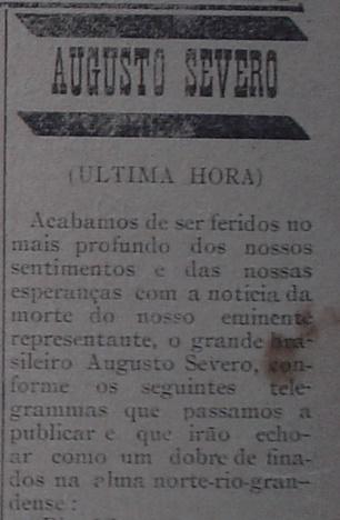 Primeira notícia publicada no jornal A Republica de Natal, sobre a morte do aviador - Coleção Tok de História