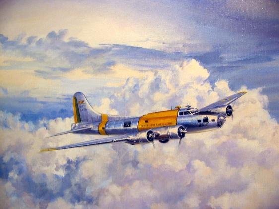 """A B-17 que ficou exposta no Aero Clube do RN, quando em atividade na FAB possuía numeração """"FAB 5408"""" e a aeronave serviu de modelo para um belo quadro que se encontra no MUSAL, Rio de Janeiro."""