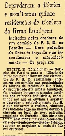 Nota sobre o ataque em Rio Tinto no ano de 1945