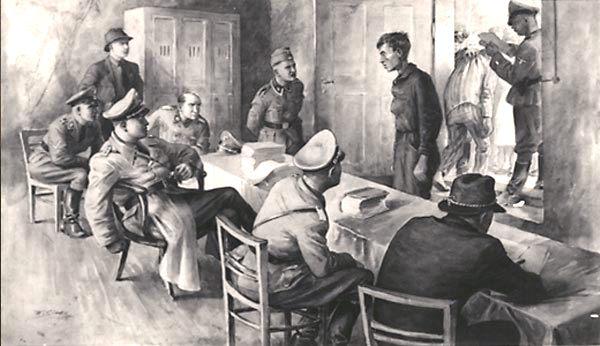 Nesta cena de uma aquarela de Wladyslaw Siwek, um homem está sendo interrogado no Bloco 11, usado para julgar os processos contra prisioneiros. O homem retratado sentado, com o braço na cadeira, é o Untersturmführer Maximilian Grabner, Diretor do Departamento Político. A quem o teuto-brasileiro Perry Broad estava subordinado. Quase todos os que passavam por este interrogatório foram logo levados para uma sala de espera e, em seguida, para o pátio do Bloco 11. Ali eles eram fuzilados contra a parede da morte, normalmente com um tiro na parte de trás da cabeça ou no pescoço. As pessoas às vezes eram executadas por infrações menores, como roubar pão, ou roupa - Fonte - tejiendoelmundo.wordpress.com