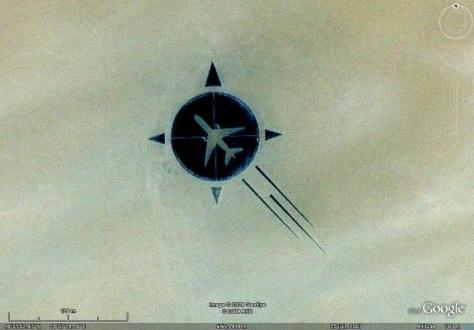 O memorial visto de uma foto de satélite.