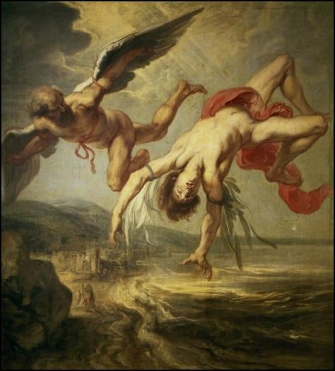 """Pintura do holandes Jacob Peter Gowi, denominada """"A queda de Ícaro"""". Do século XVII, se encontra no Museu do Prado, Madrid e retrada o antigo sonho do homem de voar através da história da fuga de Ícaro e Dédalos."""