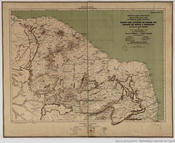 Mapa do Rio Grande do norte e dos estados vizinhos no início do século XX