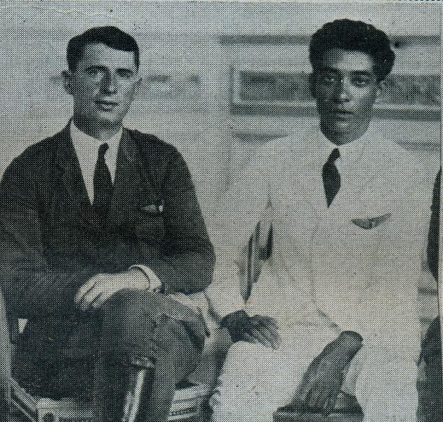 "O norte americano Walter Hinton e o cearense Euclides Pinto Martins, piloto e copiloto do hidroavião ""Sampaio Correia II"", a primeira aeronave a voar sobre o Rio Grande do Norte"