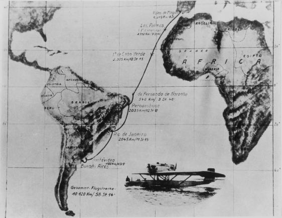"""Mapa do trajeto do hidroavião espanhol """"Plus Ultra"""""""