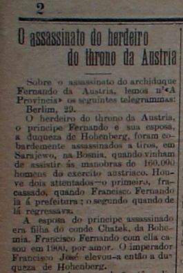 """Como os assassinatos em Sarajevo repercutiram no jornal """"A República"""", o principal do Rio Grande do Norte em 1914. Percebam que a notícia sequer foi publicada na 1ª página, mas este fato ocorreu em praticamente toda imprensa brasileira, que só compreenderam a verdadeira dimensão e significado dos fatos em Sarajevo dias após o ocorrido"""