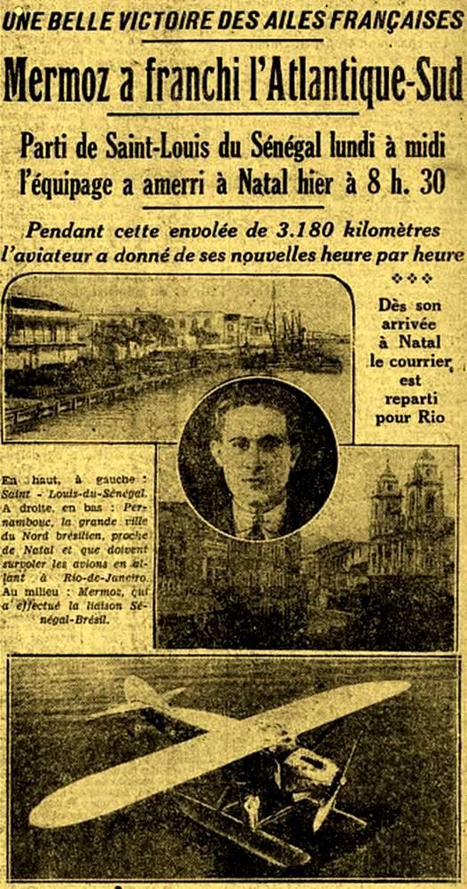 Jornal francês noticiando a chegada do aviador Mermoz ao Rio Grande do Norte