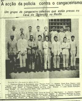 Fotos de cangaceiros presos na Casa de Detenção de Recife, estampada na primeira página de um jornal da capital pernambucana