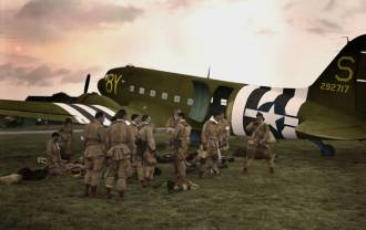 """- """"Missão Albany"""" - Logo após a meia-noite de 6 de junho de 1944, 2.000 paraquedistas iriam liderar os desembarques do Dia D, saltando atrás das linhas inimigas cinco horas antes das primeiras tropas molharem suas botas nas praias da Normandia. A aeronave da foto é o clássico C-47 e muitos destes estiveram em Parnamirim Field. Colourizado por Paul Reynolds - https://www.facebook.com/blackdot.imaging?fref=ts"""