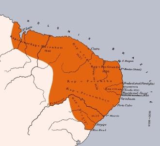 Área de ocupação do Brasil holandês - Fonte - nl.wikipedia.org