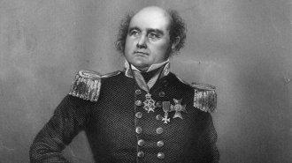 O explorador britânico Sir John Franklin é retratado em uma gravura de 1810 - Hulton Archive/Getty Images