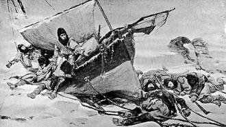 Gravura datada de 1847 retrata os tripulantes da expedição de Sir John Franklin no Ártico - Hulton Archive/Getty Images