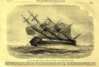 Agonia do Duncan Dumbar no Atol das Rocas, vista em um desenho publicado em um jornal inglês