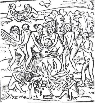 Ritual de canibalismo. Staden, o barbudo nu a direita, se coloca horrorizado diante da cena.