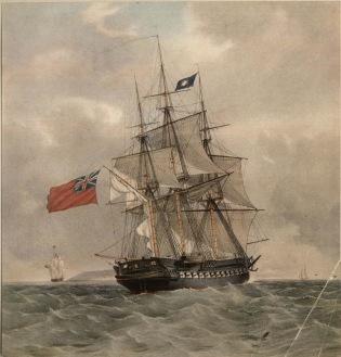 HMS Pomone, barco idêntico ao HMS Leda, que salvou parte de uma frota de barcos ingleses de se perderem no Atol das Rocas.