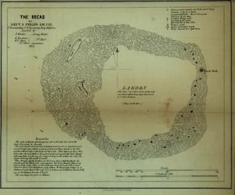 Mapa do Atol das Rocas feito pelo tenente Lee. Biblioteca do Congresso dos Estados Unidos - Fonte -  http://www.photolib.noaa.gov/htmls/map00270.htm