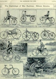 Modelos de bicicletas de combate no jornal The Illustrated War News (1917)