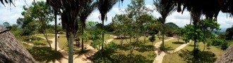 Panorâmica do Parque Memorial do Quilombo dos Palmares, em Alagoas, que desde 2007 reconstitui o cenário do antigo Quilombo.