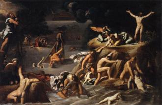 O diluvio - Antonio Marziale Carracci - óleo sobre tela - 166 x 247 cm - 1616 - (Musée du Louvre (Paris, França) - Fonte - http://pt.wahooart.com/@@/8Y3VLN-Antonio-Marziale-Carracci-O-Dil%C3%BAvio-(3)