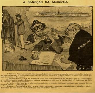 """Caricatura da revista """"O Malho"""" de novembro de 1910, mostrando a anistia para os marinheiros rebelados."""