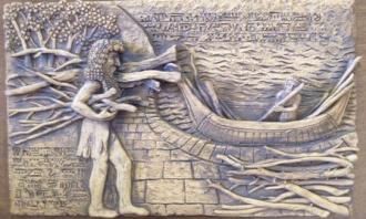Gilgamesh encontra Utnapishtim, o noé sumério - Fonte - http://eden-saga.com/fr/deluge-arche-gilgamesh-enki-viracocha-atrahasis-ziusudra.html