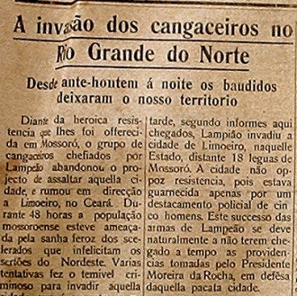 Nota de jornal sobre o ataque de Lampião a Mossoró.