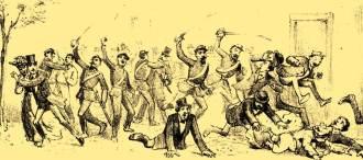 Conflito armado entre militares e civis brasileiros, no período da Guerra do Paraguai. Esta cena poderia ser parecida com a ocorrida no conflito do antigo teatro.