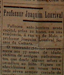 """""""A República"""", de 13 de setembro de 1926,  notícia do falecimento de Joaquim Lourival."""