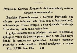 Nota do jornal Correio Braziliense, sobre a revolta pernambucana de 1817