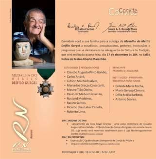Convite para a Medalha do Mérito Cultural Professor Deífilo Gurgel