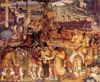 Quadro de Diego Riveras: O império Asteca subjugado - Fonte - teiadosfatos.blogspot.com