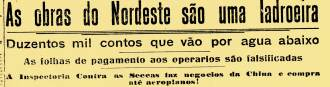 Manchete de 1925 sobre os problemas administrativos das grandes barragens no Nordeste