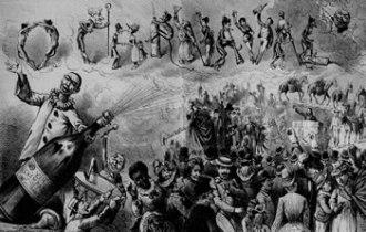 Visão geral da folia de 1886, em O Mequetrefe. Através dos Cucumbis, setores da população negra se faziam presentes no debate sobre a participação dos ex-escravos na sociedade. (Imagem: Fundação Biblioteca Nacional)