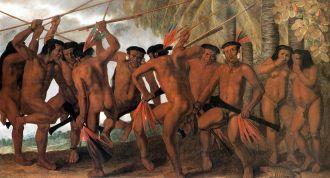 Dança dos Tapuias, índios aliados dos holandeses. Quadro de Albert Eckhout