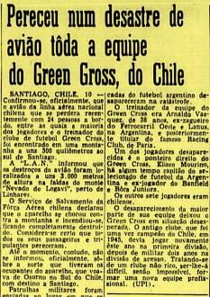 """Jornal Correio da Manhã de 1961, comn a notícia do desaparecimento da aeronave. O nome estampado """"Green Gross"""", na verdade é """"Green Cross""""."""