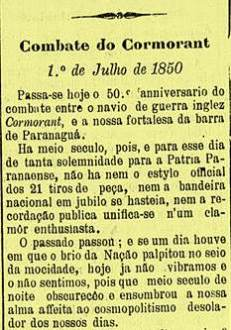"""Nota do o jornal paranaense """"A República"""", durante a comemoração do cinquentenário do Incidente de Paranaguá, em 1 de julho de 1900"""