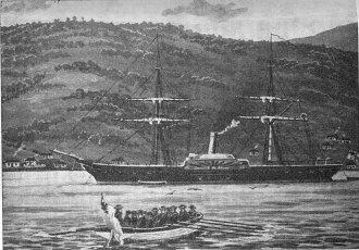 Corveta inglesa HMS Driver, identica ao HMS Cormorant - Fonte - http://en.wikipedia.org/wiki/HMS_Driver_(1840)#mediaviewer/File:HMS_Driver.jpg