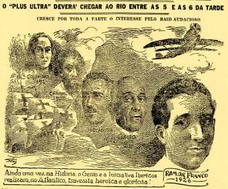 """Este desenho mostra a expectativa da chegada do """"Plus Ultra"""" ao Rio de Janeiro, na época a Capital Federal"""