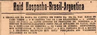 Notícias sobre a chegada do hidroavião espanhol ao Nordeste brasileiro