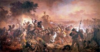 As Batalhas dos Guararapes, episódios decisivos na Insurreição Pernambucana, são consideradas a origem do Exército Brasileiro. Quadro de Domingos Meireles - Fonte - pt.wikipedia.org