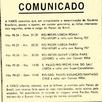 Após o fim da PANAIR, a empresa aérea VARIG e comunicou ao público.