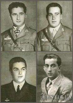 """Tripulação principal do """"Plus Ultra"""" - No alto, a esquerda está Ramon Franco, a direita vemos Julio Ruiz de Alda Miqueléiz. Abaixo a esquerda está Pablo Rada Ustárroz e a sua direita Juan Manuel Durán González."""