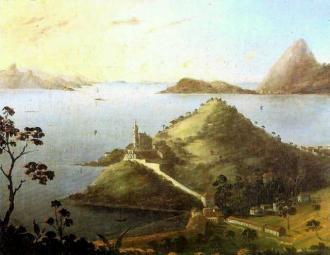 Vista da entrada do Rio de Janeiro com o Pão-de-Açúcar e a Igreja da Glória do Outeiro, óleo do inglês Robert Dampier.
