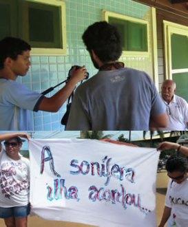 Mobilização em dois tempos: jovens entrevistam ex-administrador da ilha e passeata por direitos dos moradores em 2013. (Imagens: Reprodução)