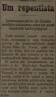 Detalhe da parte inicial da reportagem produzida  por Euclides da Mota Bandeira sobre Tapitanga em 1926 e publicada em Natal.